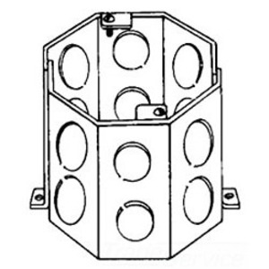 "Cooper Crouse-Hinds TP636 4"" Octagon Concrete Box, 3-1/2"" Deep, 1/2 - 3/4"" KOs, Steel"
