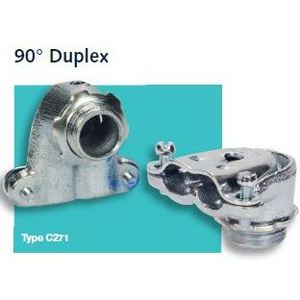 """Steel Electric Products C271 AC/Flex Connector, 90°, 2-Screw, 3/8"""", Duplex, Malleable Iron"""
