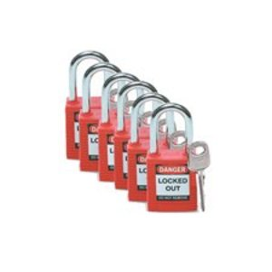 Brady 105890 BRA 105890 6PK PADLOCK REDDANGER LOCK OUT 1-1/2 SHACKLE