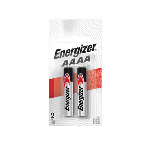 Energizer E96BP-2 AAAA Battery, Flat Top, 1.5V, Alkaline, 2 Pack