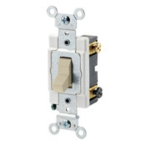 Leviton CSB2-20I 2-Pole Switch, 20 Amp, 120/277V, Ivory, Back/Side Wired, Commercial