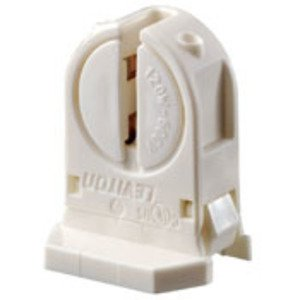 Leviton 13654-SNP Fluorescent Lampholder, Miniature Base, Snap-In, White, T5 Bi-Pin