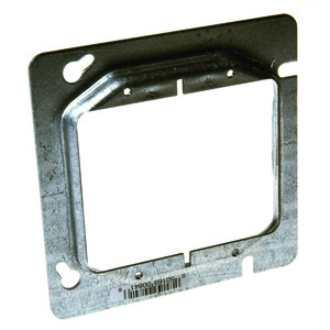 "Hubbell-Raco 841 4-11/16"" Square Cover, 2-Device, Mud Ring, 1/2"" Raised, Drawn"