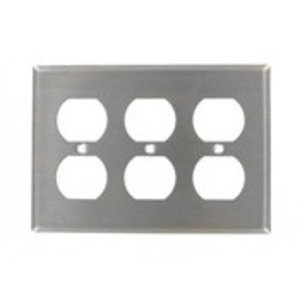 Leviton 84030-40 Duplex Receptacle Wallplate, 3-Gang, 302 Stainless Steel