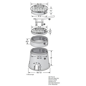 "Bochner A181124 Plastic Enclosure, Round, 10"" Diameter, Green"