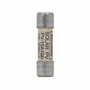 Eaton/Bussmann Series PV-15A10F Fuse, 15A, 1000VDC, Photovoltaic, Solar Rated, Cartridge, 50kAIC