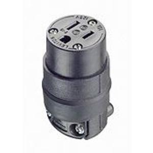 Leviton 515CR 15 Amp Connector, 125V, 5-15R, Rubber, Black