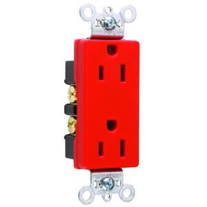 Pass & Seymour 26252-RED PS 26252-RED RECP DUP SPLEX 15A125V