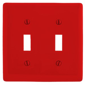 Hubbell-Wiring Kellems NP2R Toggle Switch Wallplate, 2-Gang, Nylon, Red