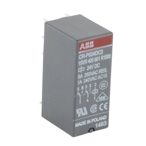 ABB 1SVR405601R1000 Interface Relay, Plug-In, 8A, SPDT, 250VAC Rated, 24VDC Coil