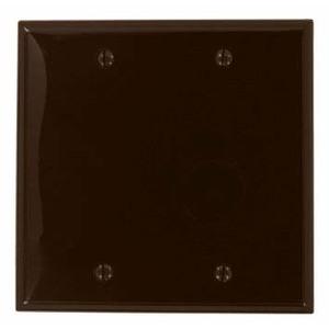 Leviton 80725 Blank Wallplate, 2-Gang, Nylon, Brown, Standard, Box Mount