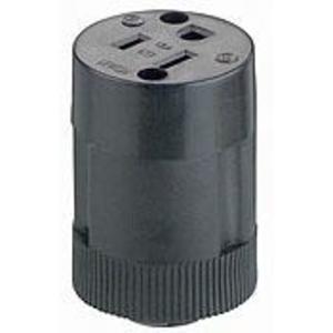 Leviton 114 15 Amp Connector, 125 Volt, 5-15R, Rubber, Black