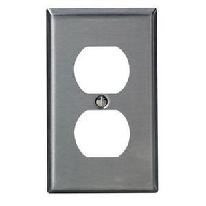 Leviton 84003 Duplex Receptacle Wallplate, 1-Gang, Stainless Steel