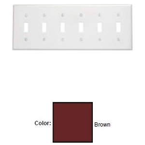 Leviton 85036 Toggle Switch Wallplate, 6-Gang, Thermoset, Brown