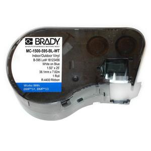 Brady MC-1500-595-BL-WT Indoor /Outdoor Acrylic Vinyl Label Cartridge