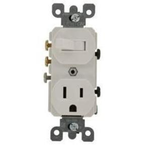 Leviton 5245-W Combination 3-Way Toggle Switch / Duplex Receptacle, 15A, White