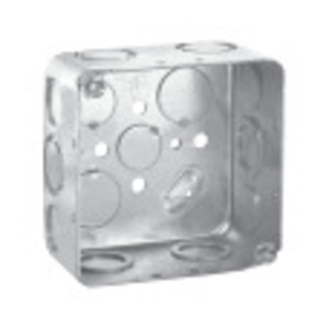 "Cooper Crouse-Hinds TP438UNIVMFG 4"" Square Box, Drawn, Metallic, 2-1/8"" Deep"