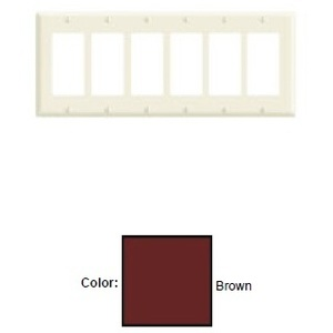 Leviton 80436 Decora Wallplate, 6-Gang, Thermoset, Brown