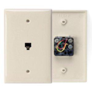 Leviton 40539-PMI Midsize Wallplate, Telephone Jack, 1-Gang, Ivory