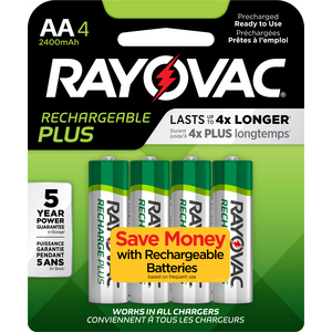 Rayovac 715-4 Rechargeable AA Battery, Recharge Plus, 4 Count Pack