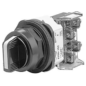 Allen-Bradley 800H-JR91A Selector Switch, 3-Position, Spring Return, Black Knob, 1NO/1NC