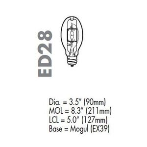 Venture Lighting MH150W/U/ED28/PS/740 Metal Halide Lamp, Pulse Start, ED28, 150W, Clear