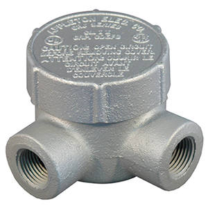 "Appleton GRJL50 Conduit Outlet Box, Type GRJL, (2) 1/2"" Hubs, Malleable Iron"