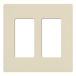 Lutron CW-2-LA Dimmer/Fan Control Wallplate, 2-Gang, Lt. Almond, Claro Series