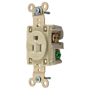 Hubbell-Kellems HBL5261I 2-Pole 3-Wire Grounding, 15A 125V, 5-15R, Flush Nylon Face, Back and Side Wired, Ivory