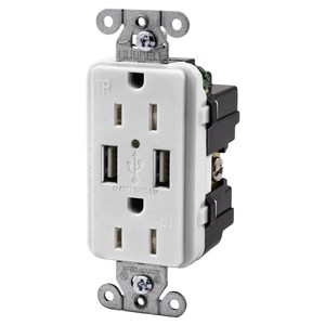 Hubbell-Kellems USB15X2W Receptacle / USB Charger Combo, 15A, White