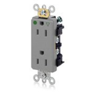 Leviton 16262-IGG Hospital Grade IG Decora Duplex Receptacle, 15A, 125V, Grey
