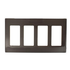 Leviton 80312 Decora Wallplate, 4-Gang, Polycarbonate, Mahogany, Screwless