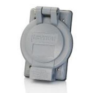Leviton WP4-G 1-Gang Weatherproof Cover for 50A Flanged Inlets & Outlets, GRAY