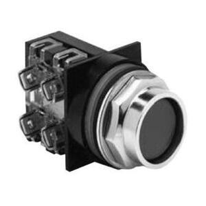 ABB CR104PBG91B3 Push Button, Recessed Black Head, 1NO/NC Contact, 600V, Momentary
