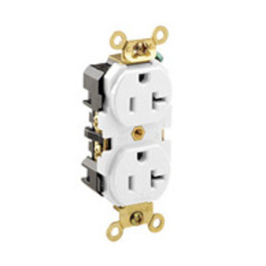 Leviton 5362-W Duplex Receptacle, 20A, 125V, White, Heavy Duty, Back/Side Wired