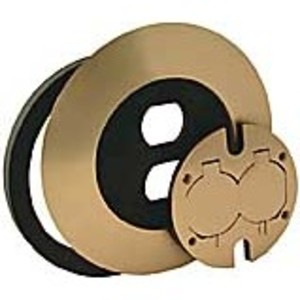 Hubbell-Raco 6280 ROUND FLOOR BOX DUPLEX COVER KIT - BRASS