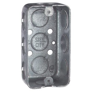 "Steel City 58351-1/2 Handy Box, 1-1/2"" Deep, 1/2"" KOs, Drawn, Steel"