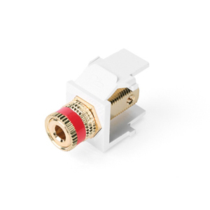 Leviton 40833-BWR White Binding Post Adapter, Gold-Plated, Red Stripe