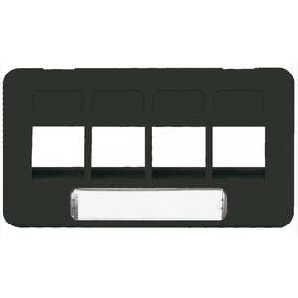 ICC IC107FT4BK TIA Furniture Faceplate, 4-Port, Black