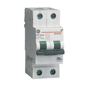 GE EP102ULD01 Breaker, Miniature, 2P, 1A, 120/240VAC, 10kAIC, DIN Rail Mount