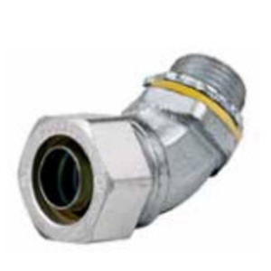 """Hubbell-Wiring Kellems H1004 Liquidtight Connector, 45°, 1"""", Non-Insulated, Aluminum"""