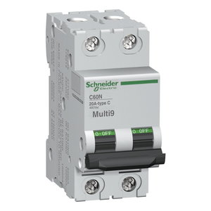 Square D MG24128 Breaker, Miniature, 2P, 4A, 480Y/277VAC, 125VDC, DIN Rail Mount *** Discontinued ***