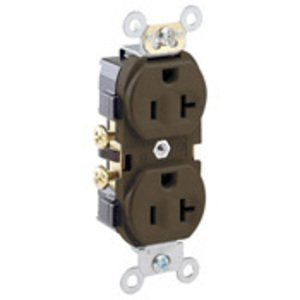 Leviton CR20-S 20A Duplex Receptacle, 125V, 5-20R, Brown, Side Wired, Spec Grade