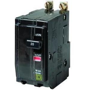 Square D QOB220 Breaker, Bolt-On, 20A, 2P, 120/240VAC, QOB Type, 10 kAIC