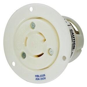 Hubbell-Kellems HBL2326 2P3W, 20A 250V, L6-20R, White Nylon