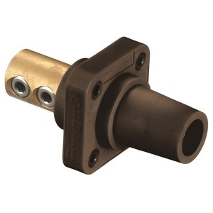 Hubbell-Kellems HBLFRBN 400 Amp Set Screw Type Panel Mount Female Receptacle, Brown
