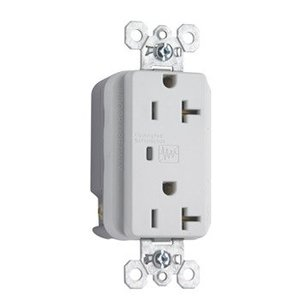Pass & Seymour 5352-WSP Duplex TVSS Receptacle, 20 Amp, 125 Volt, White *** Discontinued ***