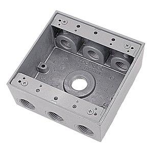 "Red Dot 2IH7-1 Weatherproof Outlet Box, 2-Gang, 2-1/16"" Deep, (7) 1/2"" Hubs"