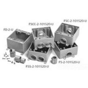 """Ipex 077372 PVC Box, 2-Gang, 2-1/2"""" Deep, 1/2 - 1"""" Hubs, Type: FSS"""