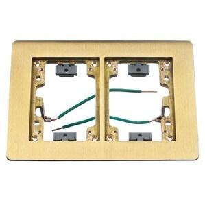 Hubbell-Kellems SB3084W Rectangular Flat Flange, 2-Gang, Brass